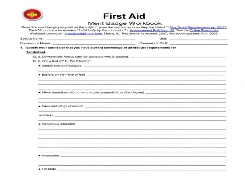 Emergency Prep Merit Badge Worksheet and First Aid Merit Badge Worksheet Answers Kidz Activities