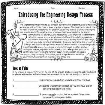 Engineering Design Process Worksheet Answers Along with Introducing the Engineering Design Process Worksheet