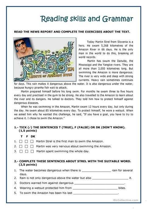 Esl Reading Comprehension Worksheets Along with Martin Strel Swam the Amazon River Worksheet Free Esl Printable