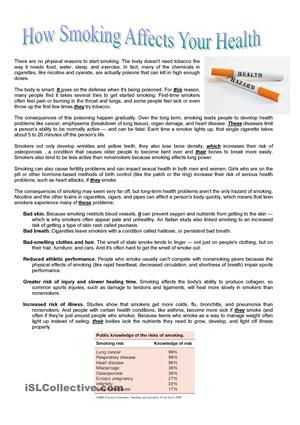 Esl Reading Comprehension Worksheets and How Smoking Affects Our Health Reading Prehension Exercise