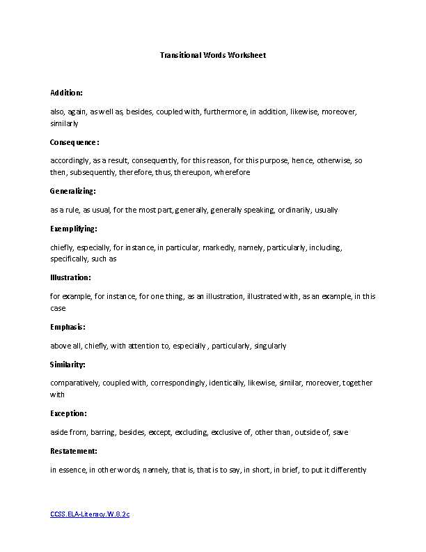 Essay Writing Worksheets as Well as Transitional Words Ela Literacy W 8 2c Writing Worksheet