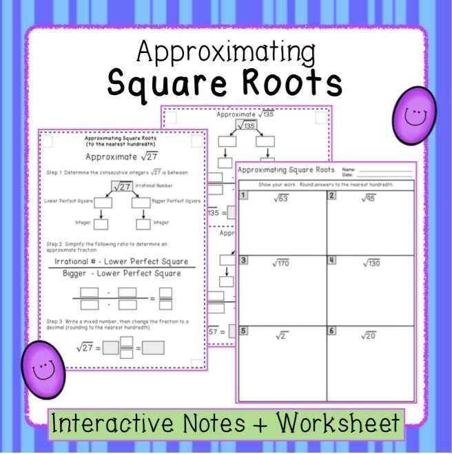 Estimating Square Roots Worksheet and Estimating Square Roots Interactive Notes and Worksheet 8 Ns 2