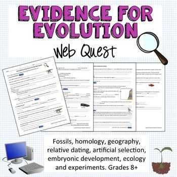 Evolution Vocabulary Worksheet with Evidence for Evolution Webquest