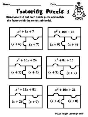 Factoring Quadratic Trinomials Worksheet or 60 Best Factoring and Quadratics Images On Pinterest