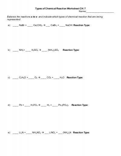 Five Types Of Chemical Reaction Worksheet and Types Of Chemical Reaction Worksheet Ch 7 Name Balance the