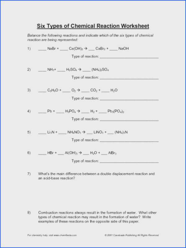 Five Types Of Chemical Reaction Worksheet or Identifying Chemical Reactions Worksheet Image Collections
