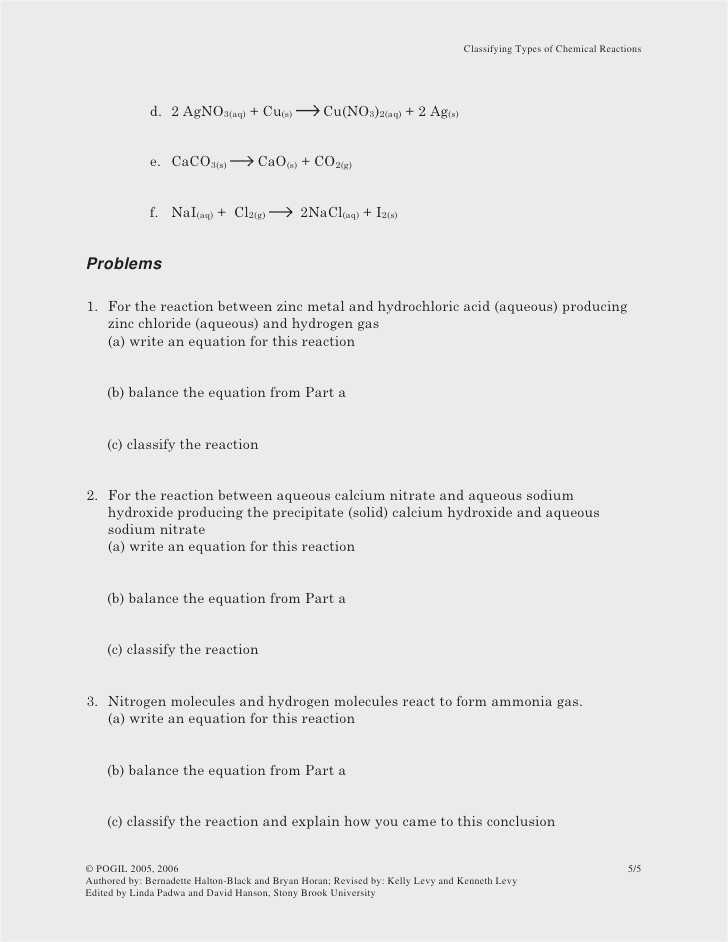 Five Types Of Chemical Reaction Worksheet or Six Types Chemical Reactions Worksheet Image Collections