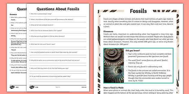 Fossil formation Worksheet Along with Year 3 Fossils Reading Prehension Activity Sedimentary