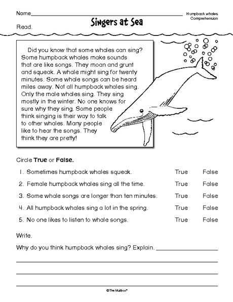 Free 4th Grade Reading Comprehension Worksheets or Reading Prehension Worksheet Nonfiction Whales