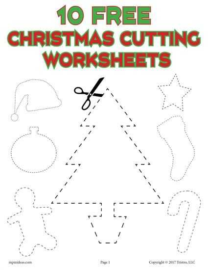 Free Cutting Worksheets and 10 Printable Christmas Shapes Cutting Worksheets