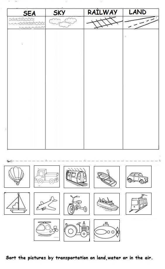 Free Cutting Worksheets with Vehicle Worksheet for Kids
