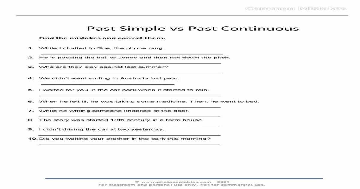 Free Esl Worksheets for Adults together with Past Simple Vs Past Continuous Mon Mistakes Free Esl Worksheet