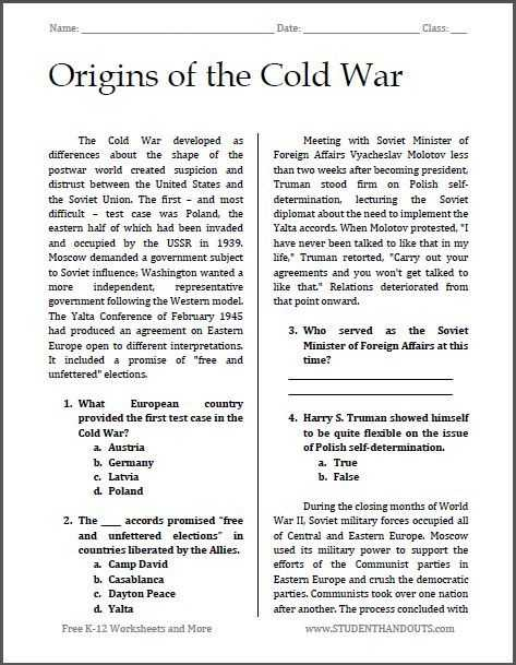 Free Ged social Studies Worksheets together with origins Of the Cold War