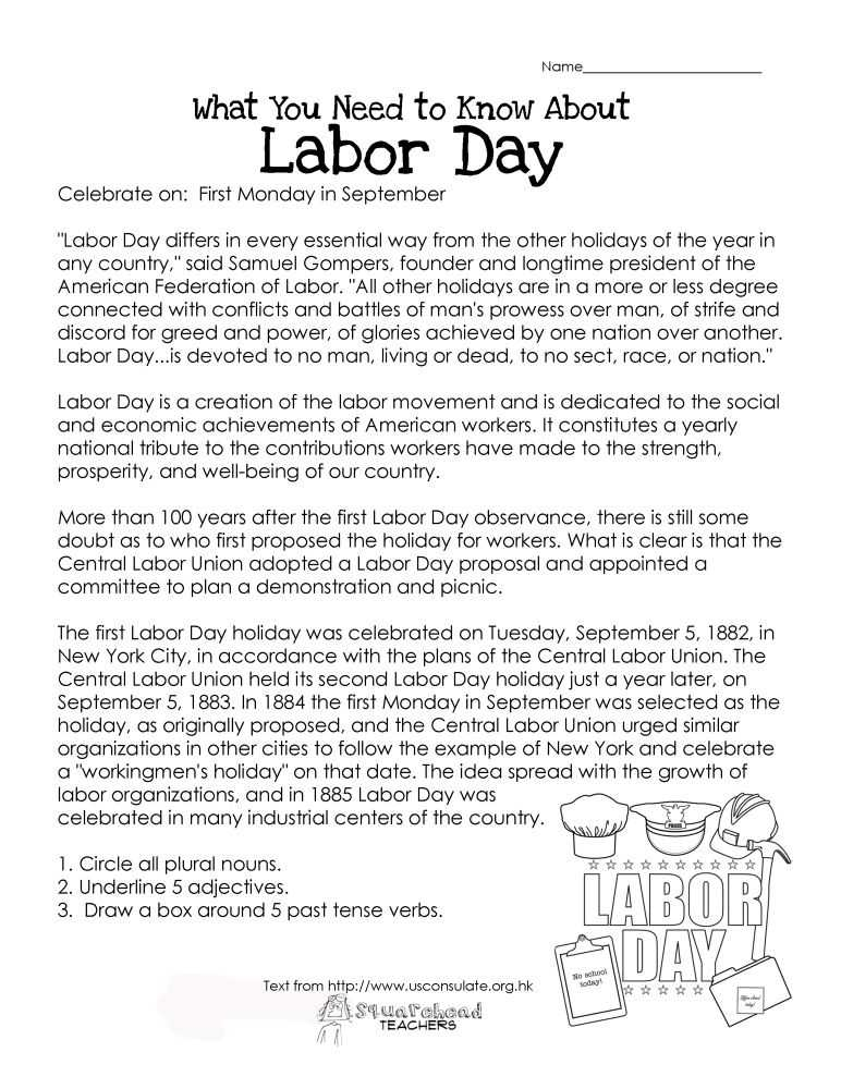 Free Printable Main Idea Worksheets Along with What You Need to Know About Labor Day Free Printable Worksheet for