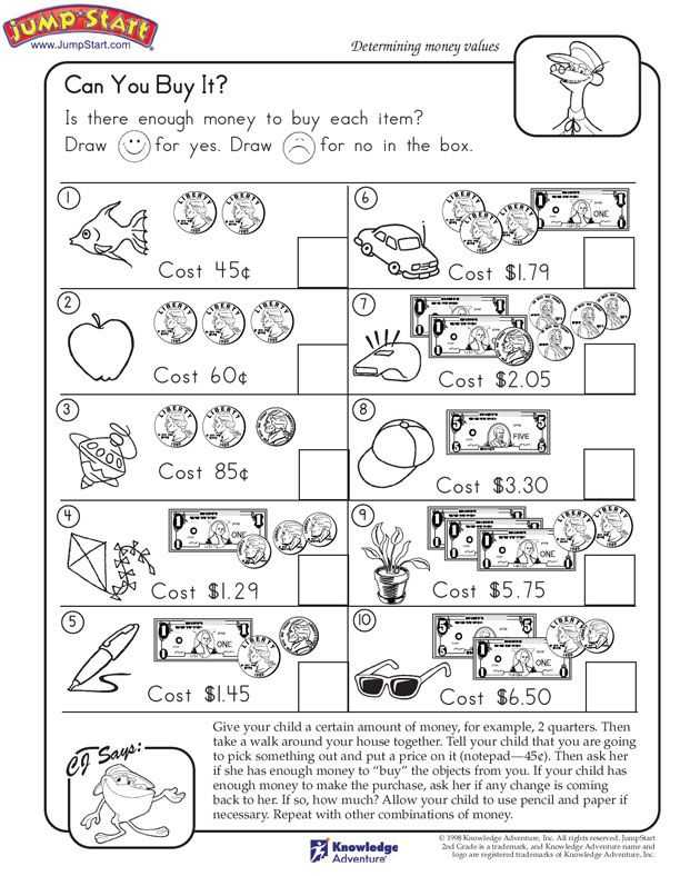 Free Printable Money Worksheets for Kindergarten Along with 9 Best Worksheets for Grade 1 and 2 Images On Pinterest