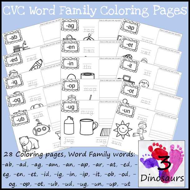 Free Printable Phonics Worksheets and New Cvc Word Family Coloring Pages Short A Vowel