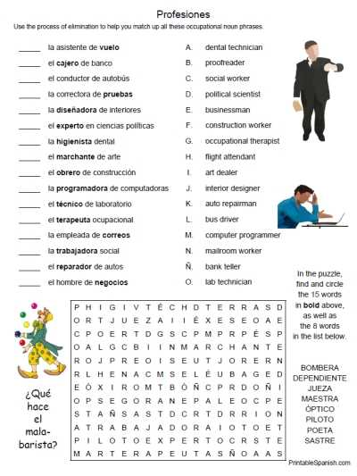 Free Spanish Worksheets or Printable Spanish Freebie Of the Day Profesiones 1 Puzzle Worksheet