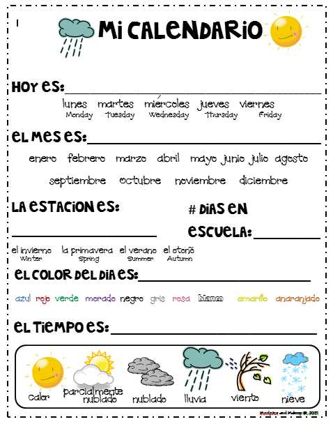 Free Spanish Worksheets together with Spanish Calendar Journal[5] ]