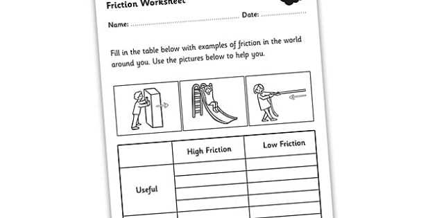 Friction and Gravity Lesson Quiz Worksheet as Well as Friction Worksheet Friction Friction and Resistance High and