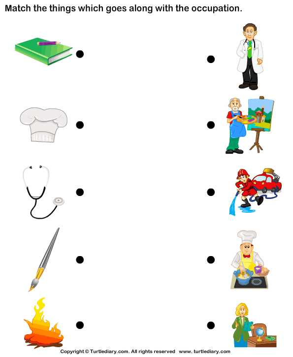 Fun Worksheets for Kids together with Download and Print Turtle Diary S Match Objects with Occupation