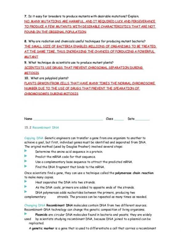 Genetics and Biotechnology Chapter 13 Worksheet Answers or Chapter 13 Section 2 Dna Technology Study Guide Answers 5