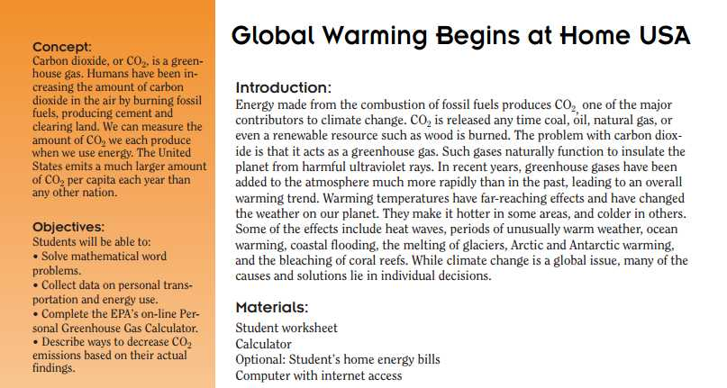 Global Warming Worksheet or Global Warming Begins at Home Usa Students Collect Data and Pute