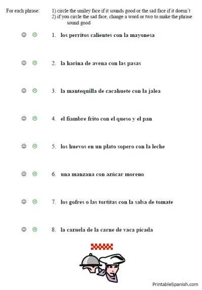 Grammar Review Worksheets together with Free Printable Spanish Worksheet Packet On Food Vocabulary Lunch