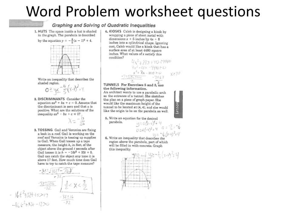 Graphing Quadratic Functions In Standard form Worksheet and Word Problem Worksheet Questions Ppt Video Online