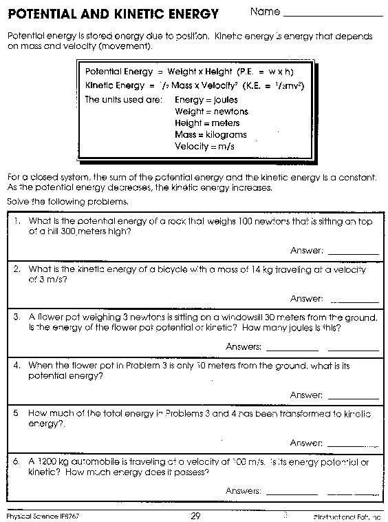 Gravitational Potential Energy Worksheet with Answers Along with Worksheets 45 Re Mendations Potential and Kinetic Energy Worksheet