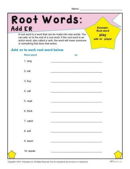 Greek and Latin Roots 4th Grade Worksheets or Root Words Worksheets