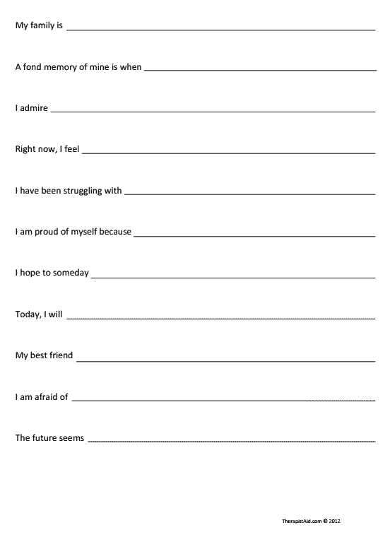 Grief therapy Worksheets together with Self Exploration Sentence Pletion Preview
