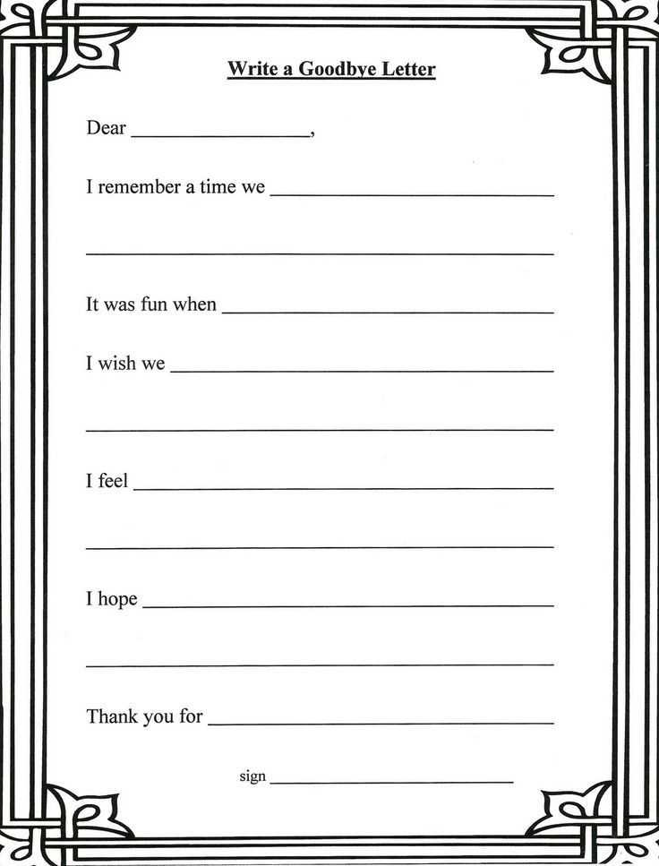 Grief therapy Worksheets with Lorinda Character Education Grief Stages and Goodbye Letter