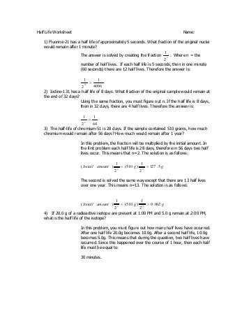 Half Life Practice Worksheet Also Half