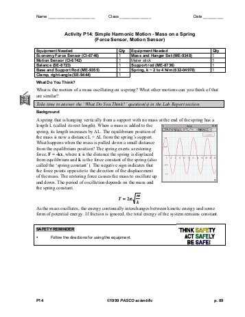 Harmonic Motion Worksheet Answers and Activity P14 Simple Harmonic Motion Mass On A Spring force