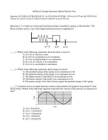 "Harmonic Motion Worksheet Answers and Ap Physics ¢€"" Simple Harmonic Motion Oscillations Practice Test"