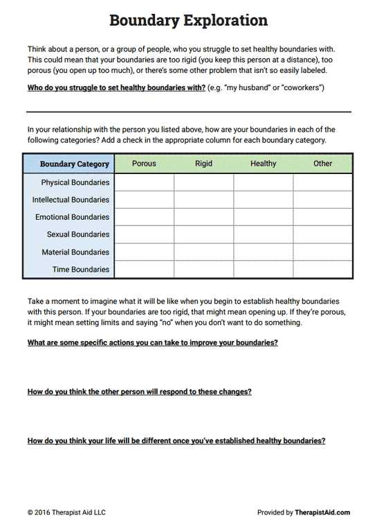 Healthy Boundaries Worksheet as Well as Boundaries Exploration Preview Groups & Resources