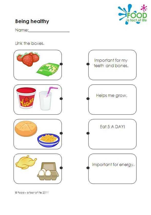 Healthy Food Worksheets Along with Healthy Eating Teaching Resource Worksheet which Link Types Of Food
