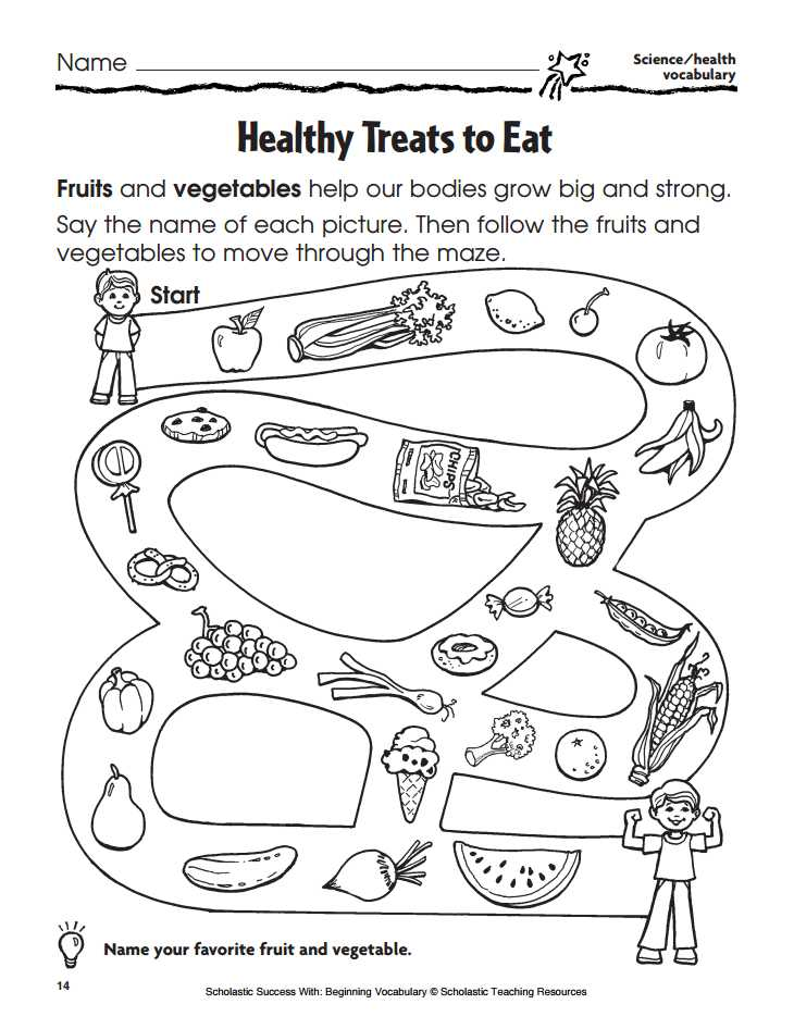 Healthy Food Worksheets with Healthy Treats to Eat