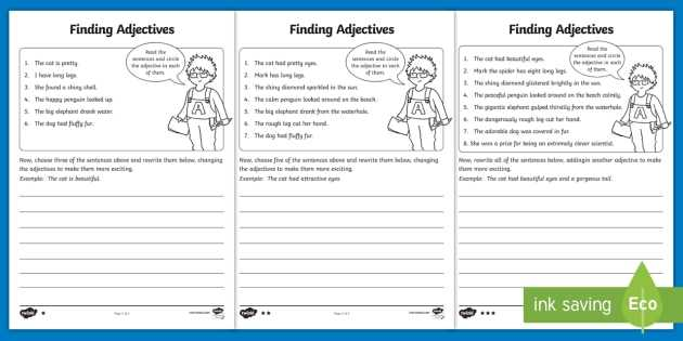 Identifying Adjectives Worksheet Along with Finding Adjectives Worksheet Activity Sheet Finding Verbs