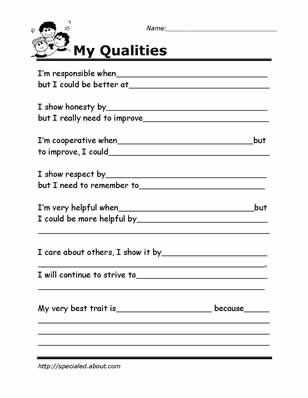 Improving Body Image Worksheets Along with Printable Worksheets for Kids to Help Build their social Skills