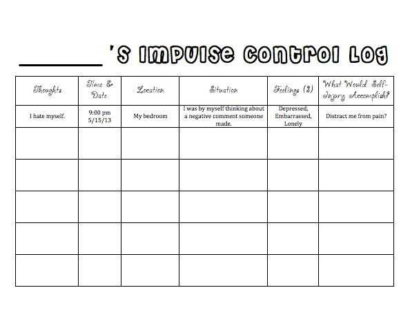 Impulse Control Worksheets Printable Along with Impulse Control Worksheets