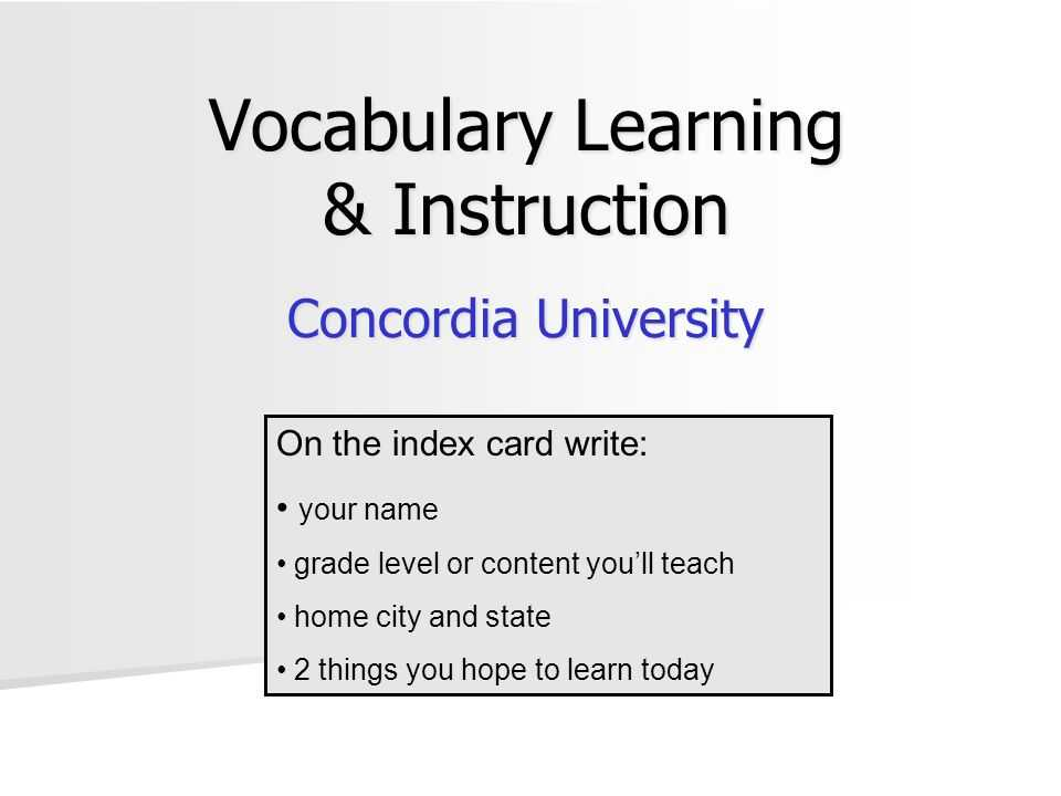 Industrialization Vocabulary Worksheet Also Vocabulary Learning & Instruction Concordia University the Index
