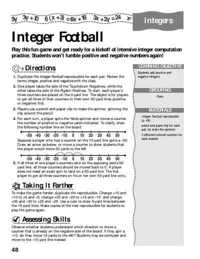 Integers Worksheets with Answers as Well as Integer Football