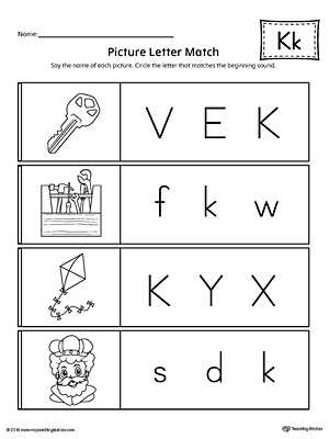Kindergarten Alphabet Worksheets as Well as Picture Letter Match Letter K Worksheet