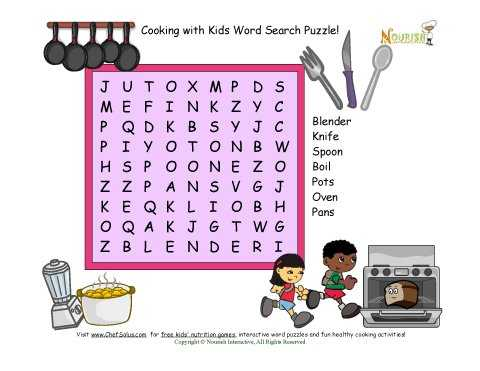 Kitchen tools Worksheet as Well as Word Search Puzzle with 7 Kitchen and Cooking Words for Children
