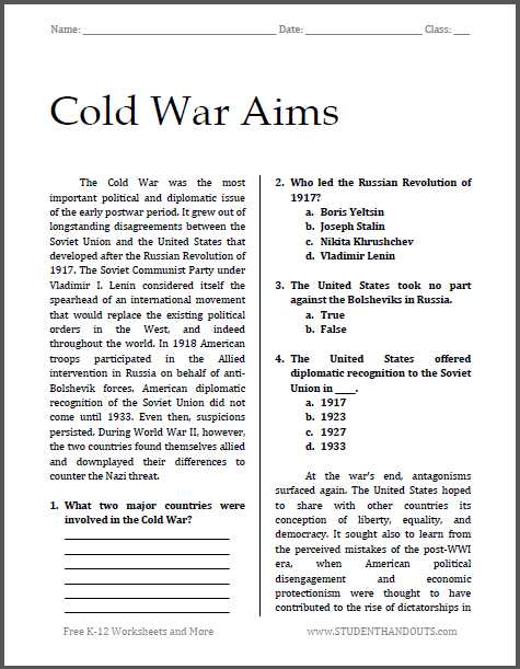 Korean War Worksheet and Cold War Aims