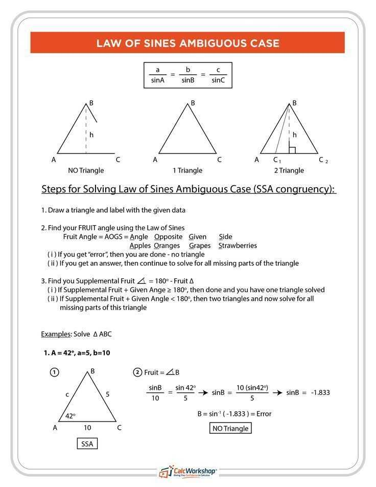 Law Of Sines Ambiguous Case Worksheet Along with 471 Best Precalculus Images On Pinterest