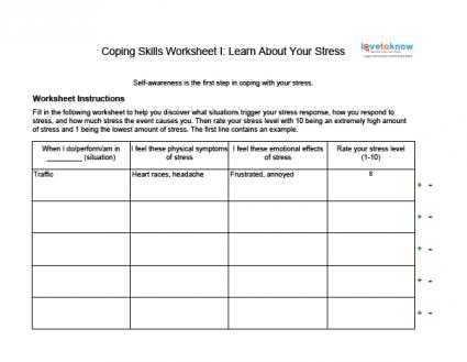 Life Skills Worksheets for Adults Pdf Also Unit Title Stress Management