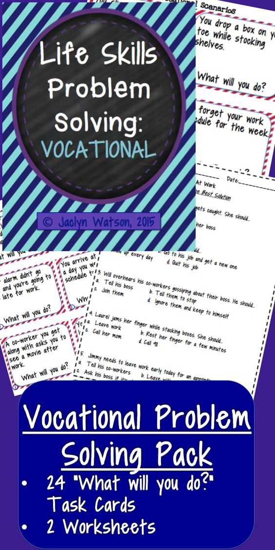 Life Skills Worksheets High School as Well as Life Skills Problem solving Vocational