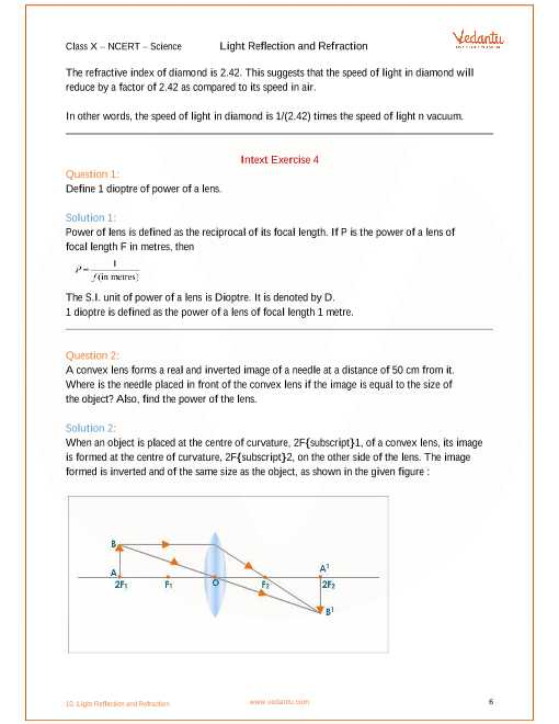 Light Refraction and Lenses Physics Classroom Worksheet Answers and Ncert solutions for Class 10 Science Chapter 10 Light Reflection